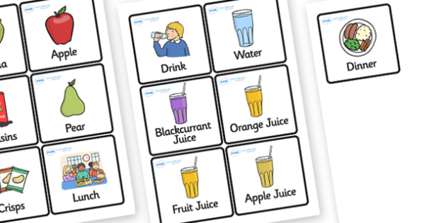 Food and Drink Word and Picture Cards - food, drink, food and drink, cards, game cards, word recgonition, 4 per A4, types of food, types of drink, cards with food and drink