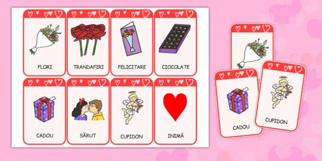 Ziua indragostitilor, Cartonase ilustrate - vocabular, valentin