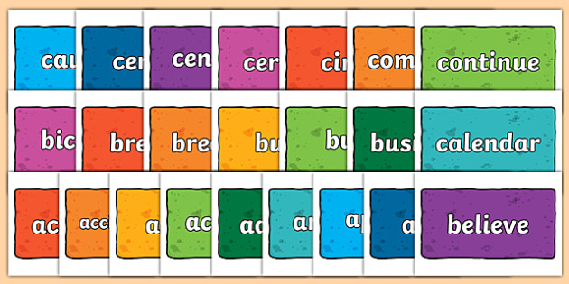 Year 3 and 4 Common Exception Words on Multicolour Bricks - year 3, year 4, common exception words, bricks, display