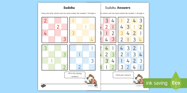 Sudoku Sheets - sudoku, number games, maths, numeracy, games