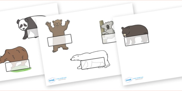 Editable Self Registration Labels (Bears) - Bear, bears, Self registration, register, editable, labels, registration, child name label, printable labels, animals, polar bear, koala bear, brown bear, grizzly bear, sloth bear,  bear resources