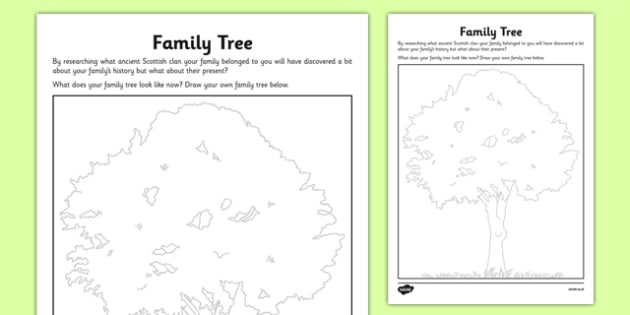 Family Tree Activity Sheet - cfe, curriculum for excellence, family tree, activity sheet, worksheet