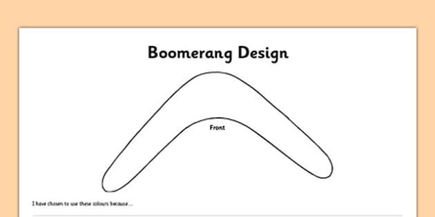 Boomerang Design Activity Sheet Front and Back - australia, boomerang, template, outline, design, colouring, worksheet, art, technology