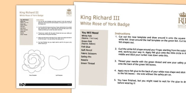 White Rose of York Craft Instructions - richard III, white rose