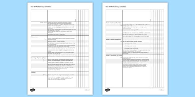 2014 Curriculum Year 3 Maths Assessment Group Checklist - numeracy