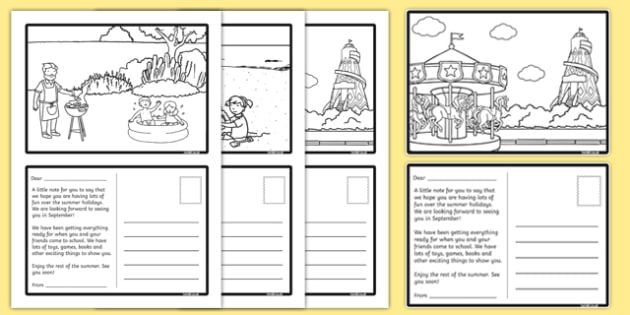 EYFS Summer Holiday Transition Postcards - End of School Year Summer Activities