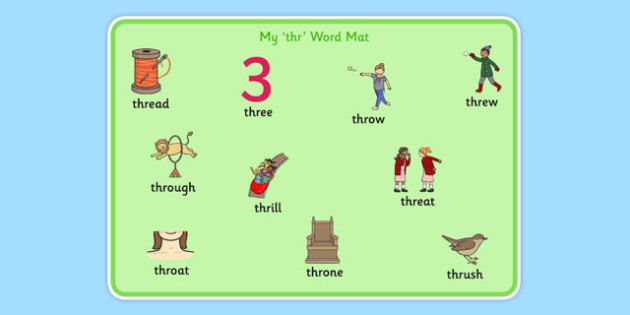 THR Sound Word Mat - speech sounds, phonology, articulation, speech therapy, cluster reduction