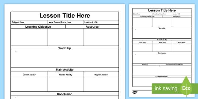 Plan Template  Lesson Plan Australia Planning Template