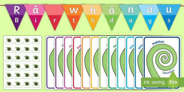 Koru Birthday Display Pack - Te Reo Maori / English - birthday, koru, maori, New Zealand, NZ, party, celebration,