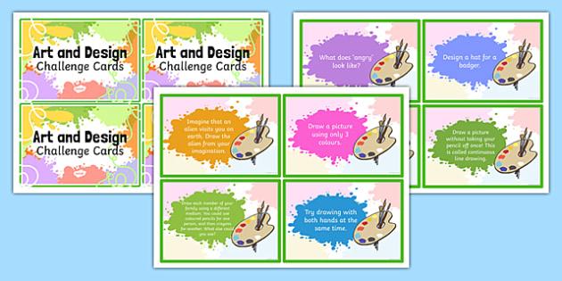 Art and Design Challenge Cards - art, design, challenge, cards