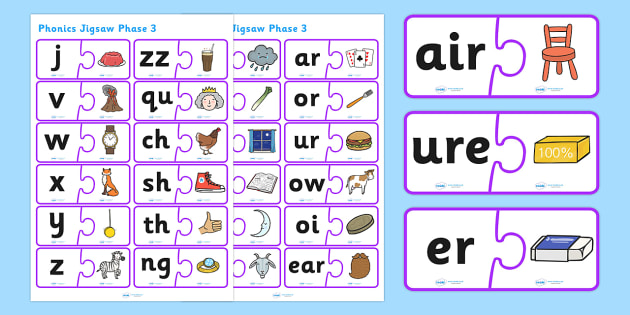 Phonics Jigsaw Phase 3 - phase 3, phase three, phases, phonics, jigsaw, phonics jigsaw, phonics games, phonics activites, games, activities, word games