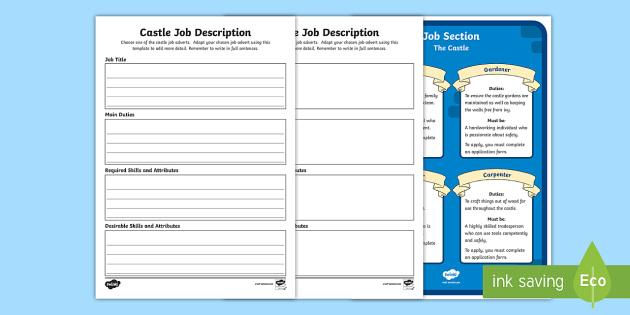 KS1 Castle Job Description Activity Sheet - Career, Motivation, Ambition, Interview, Position, Newspaper, worksheet