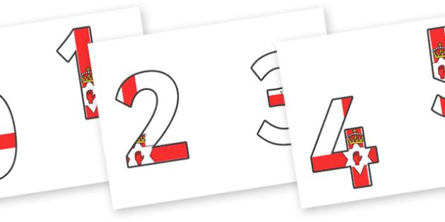 0-9 Northern Irish Flag Display Numbers - 0-9, display numbers, maths, number, numbers, display, Northern Irish, Northern Ireland, KS2 on flags