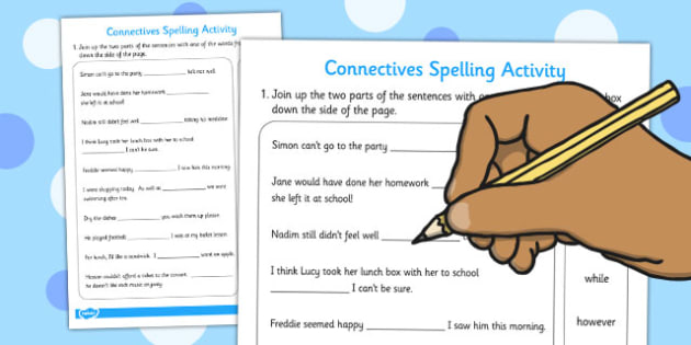 Connectives Spelling Activity - connectives, spelling, activity