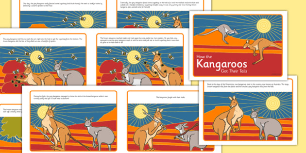 Aboriginal Dreamtime How the Kangaroos Got Their Tails Story Cards - australia, aboriginal, dreamtime, how the kangaroos got their tails, story, cards
