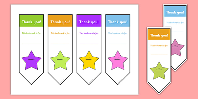 Editable Thank You Bookmark  Bookmark Bookmark Template