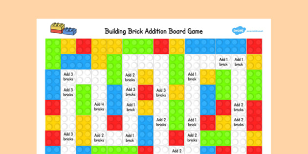 Building Brick Addition Board Game - building brick, addition, board game