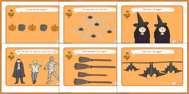 Halloween Activity Worksheets - halloween, halloween activity, halloween worksheets, size and shape, size comparison, bigger or smaller, length comparison