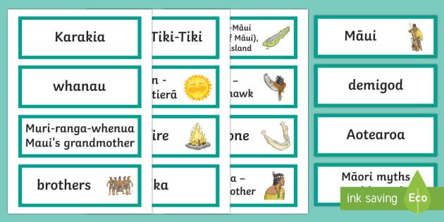 Māui Myth Word Cards - Maui Myths Maori legends