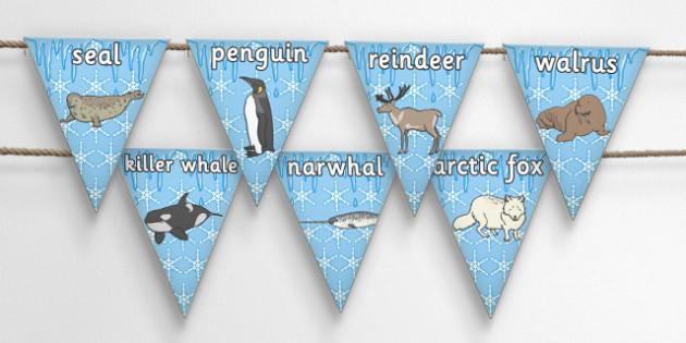 Polar Animals Bunting - polar, animals, display bunting, display