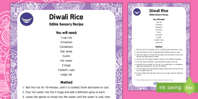 Diwali Rice Edible Sensory Recipe