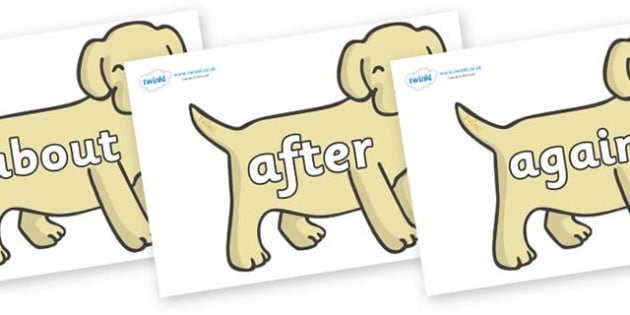 KS1 Keywords on Puppies - KS1, CLL, Communication language and literacy, Display, Key words, high frequency words, foundation stage literacy, DfES Letters and Sounds, Letters and Sounds, spelling