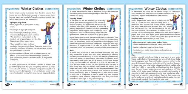 KS1 Winter Clothes Differentiated Fact File - Winter, cold, freezing, warm, hat, scarf, gloves, coat, boots, clothes, insulation, material, angora