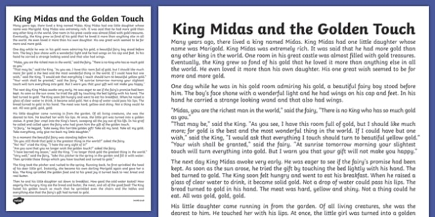 King Midas Story Print Out - king, midas, story, print out, print