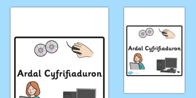 Arwydd Ardal Cyfrifiaduron - computer area, sign, welsh, wales, language