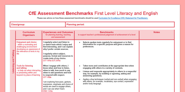 CfE Benchmarks First Level Literacy and English Assessment Tracker-Scottish