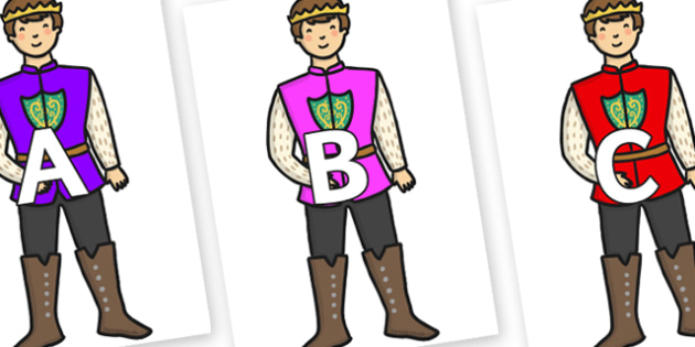 A-Z Alphabet on Sleeping Beauty Prince - A-Z, A4, display, Alphabet frieze, Display letters, Letter posters, A-Z letters, Alphabet flashcards