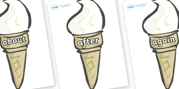 KS1 Keywords on Ice Creams - KS1, CLL, Communication language and literacy, Display, Key words, high frequency words, foundation stage literacy, DfES Letters and Sounds, Letters and Sounds, spelling