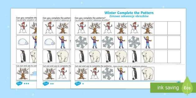Winter Themed Complete the Pattern Activity Sheet Polish/English - Winter, Christmas, seasons, pattern, repeating pattern,Polish-translation