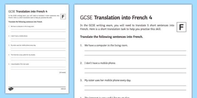 GCSE French Translation into French 4 Foundation Tier Activity Sheet-French, worksheet