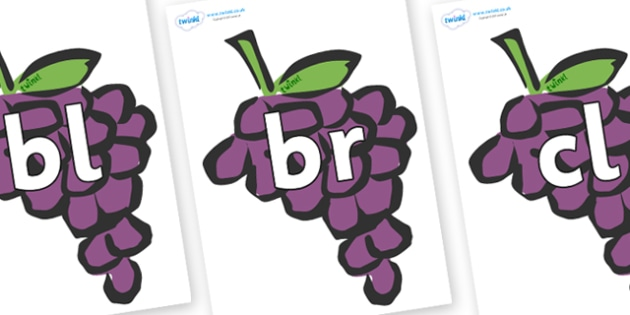 Initial Letter Blends on Grapes - Initial Letters, initial letter, letter blend, letter blends, consonant, consonants, digraph, trigraph, literacy, alphabet, letters, foundation stage literacy