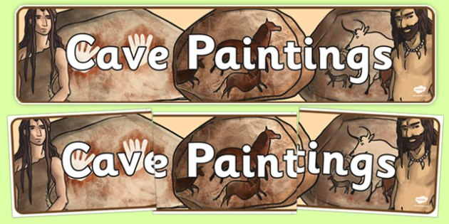 Cave Paintings Display Banner - stone age, cave painting, banner