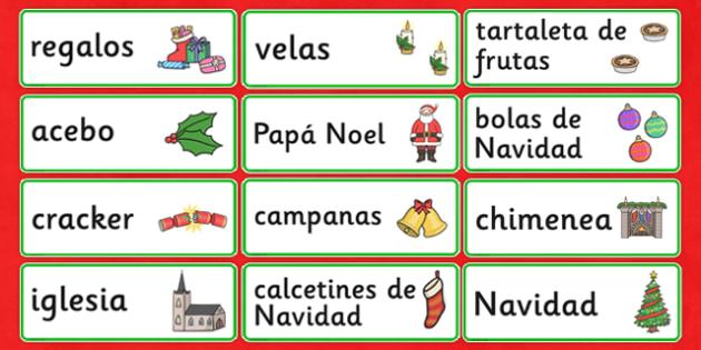 Christmas Topic Word Cards Spanish - spanish, christmas, topic, word cards, word, cards
