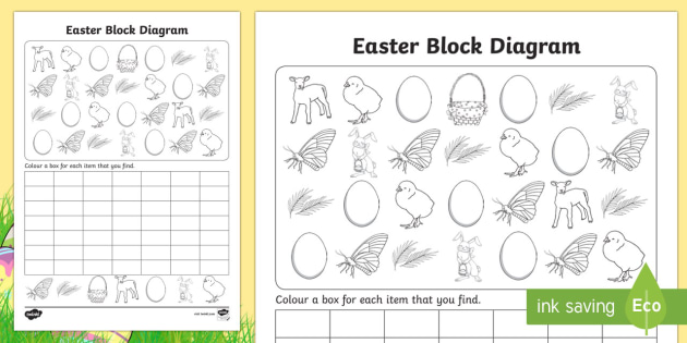 Easter Block Diagram Activity Sheet - graphs, record, activities, worksheet