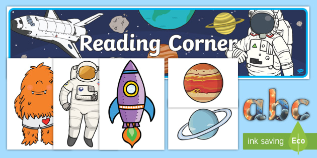 Reading Corner Space-Themed Display Pack - reading area, book area, book corner, books, reading, library, reading corner, space, planets, stars