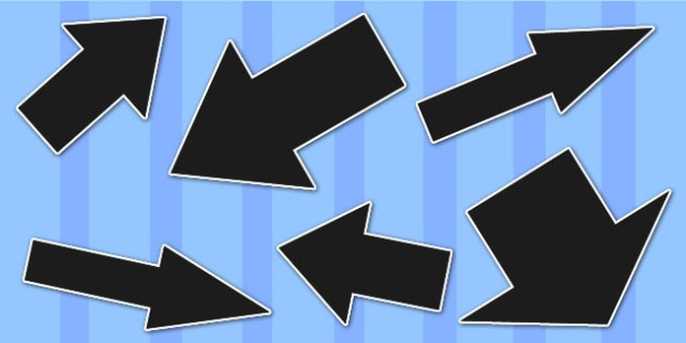 Black Directional Arrows Cut Outs -  black directional arrows, cut outs, directional arrows, directional arrow cut outs, directional arrows worksheet