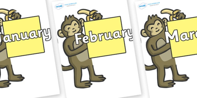 Months of the Year on Monkeys - Months of the Year, Months poster, Months display, display, poster, frieze, Months, month, January, February, March, April, May, June, July, August, September