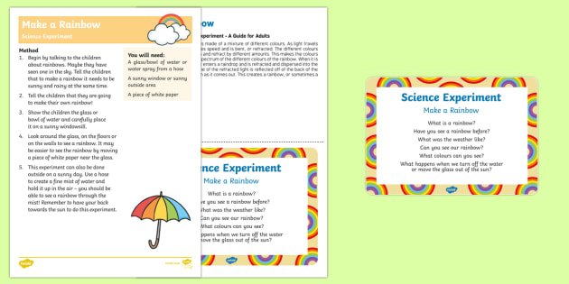 EYFS Make a Rainbow Science Experiment and Prompt Card Pack - EYFS, Early Years, science, understanding the world, weather, rain, sun, rainbow, colours