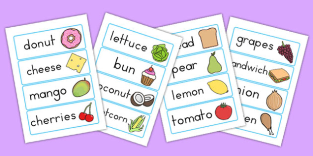 Food Topic Word Cards - keywords, keyword cards, visual aid