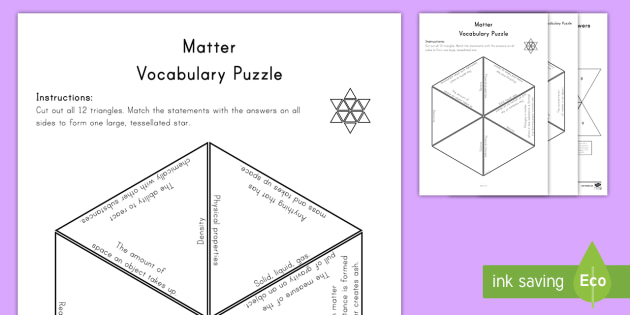 Matter Vocabulary Puzzle - physical properties, science vocabulary, solution, state of matter, reactivity, solubility