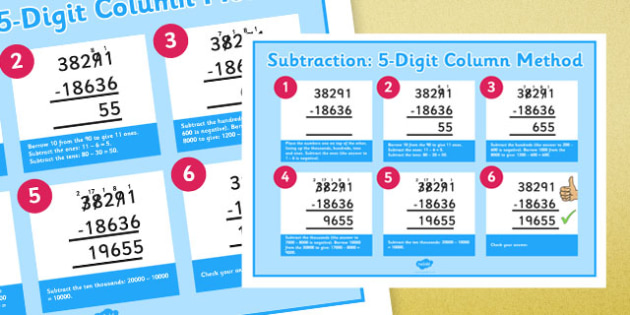 Subtracting 5-Digit Numbers Using Column Method Display Poster - subtracting, 5 digit, numbers, subtract, columnar, column method, display poster, display, poster, ks2, year 5, year 6, maths, add, subtract, formal