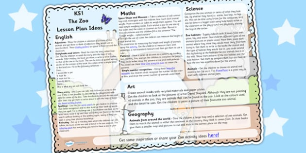 The Zoo Lesson Plan Ideas KS1 - zoo, animals, lesson plan, KS1