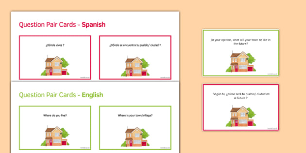 General Conversation Home Town Neighbourhood & Region Question Pair Cards Spanish