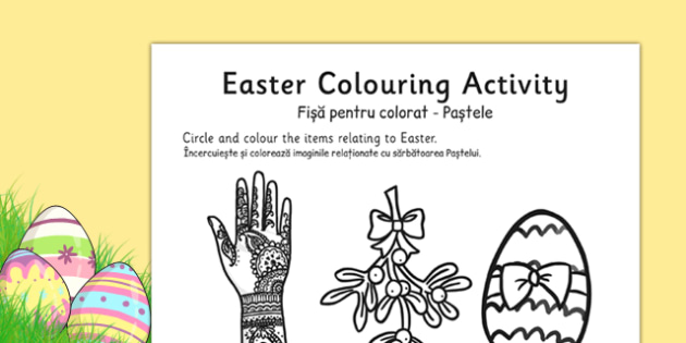 Easter Colouring Activity Sheet Romanian Translation - romanian, easter, colour, RE, religion, worksheet