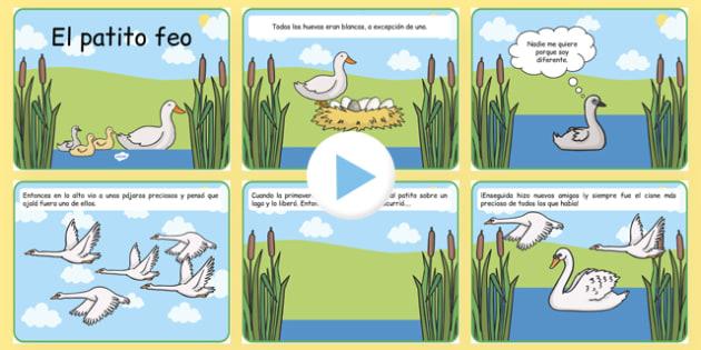 PowerPoint - El patito feo - Valores sociales, la belleza, cuentos, tradicionales, cisne,