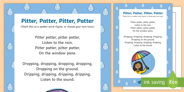 Pitter Patter Pitter Patter Rhyme - rainy day, song, rhyme, pitter patter, weather